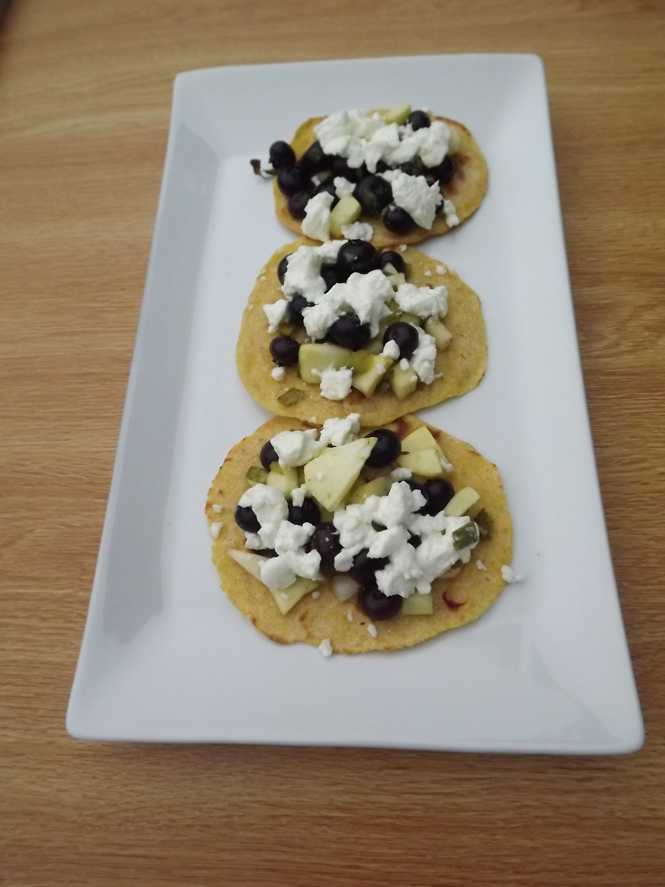 Open-faced blueberry, apple, and goat cheese quesadillas